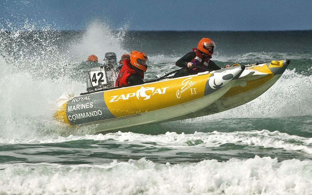 Boat racing in rough water.